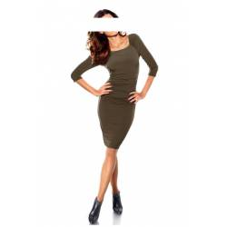 Women's draped dress in taupe HEINE
