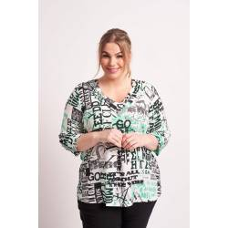 Ladies' blouse plus size with a modern print Chalou - Bettina multicolor, front stylisation details