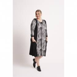 Womens dress plus size with 3/4 sleeves Chalou- black and white Christiane, stylisation
