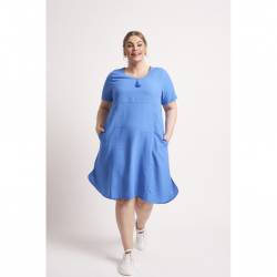 Chalou Berry women's dress plus size with short sleeves - blue, stylisation