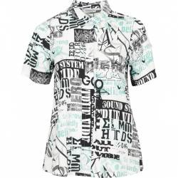 Womens shirt plus size with short sleeves and a modern print- Chalou multicolor Bettina, front