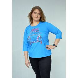 Womens shirt plus size with car motif Chalou- deep ocean Frida, front stylisation