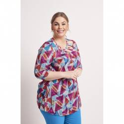 Chalou Anastasie women's tunic with 3/4 sleeves - geometric patterns, multicolour, stylisation front