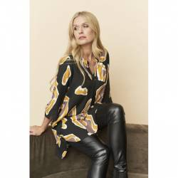 Ladies' viscose tunic plus size - Pont Neuf - yellow Bloom, front details