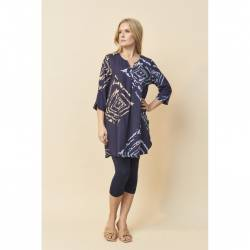 Pont Neuf tunic plus size with rhombs print -navy blue Brielle, stylisation front