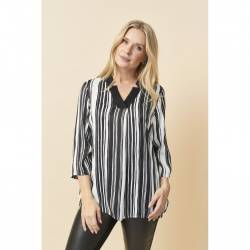 Womens blouse plus size with stripes black and white- Pont Neuf  -Irsa, front stylisation