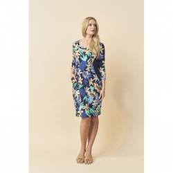 Women's plus size dress with floral print -Pont Neuf navy blue Bianco, front stylisation
