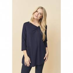 Womens tunic plus size with draft- Pont Neuf - navy blue Annastacia, stylisation front