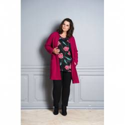 Pont Neuf plus size tunic with floral print - rasberry Melina, front stylisation